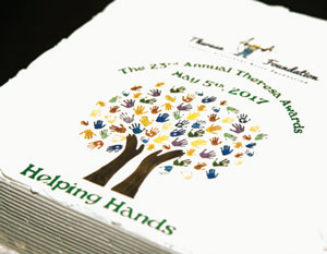 Theresa Awards Dinner napkins with Helping Hands tree printed