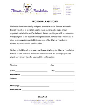 Theresa Foundation Photo Release Form